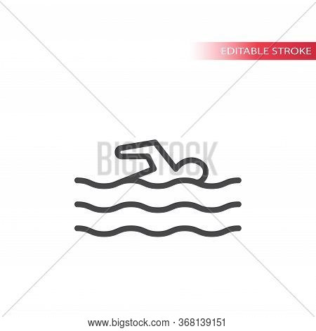 Pool Or Beach Symbol, Swimmer Figure In The Water With Waves Thin Line Vector Icon. Outline, Editabl
