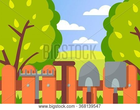 Summer Garden Landscape Vector Illustration. Green Trees, Wood Fence And Garden Tools On It Against