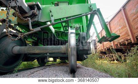 View Underneath The Wagon On Cargo Train Car On Industrial Railroad