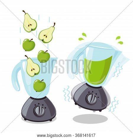 Organic Raw Pear And Apple Shake. Food