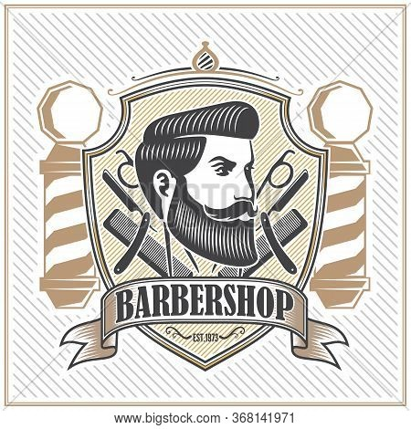 Barber Shop Poster, Banner Template Design With Bearded Men And Barber Pole. Vector Illustration