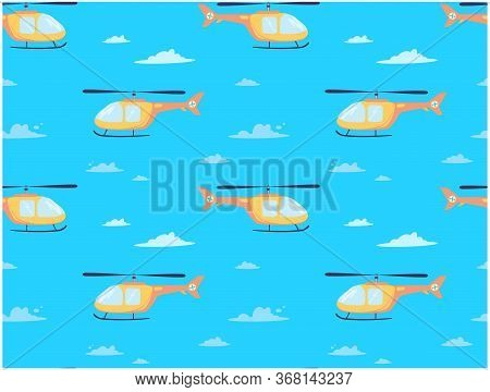 Vector Print With A Helicopter That Flies Through The Clouds. Air Transport With A Propeller In The