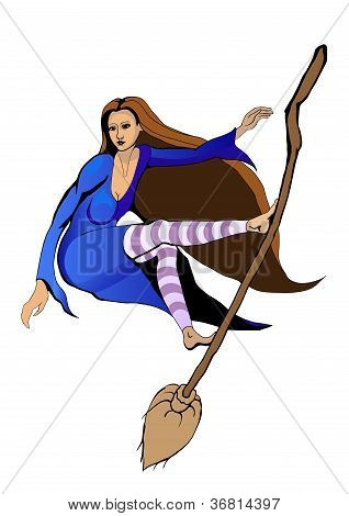 witch flying on a broomstick like surfing