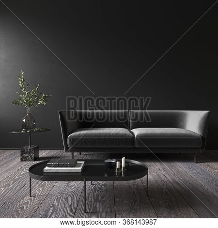 Black Minimalistic Interior With Sofa And Coffee Table. 3d Render Illustration Mock Up.