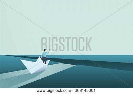 Business Challenge Vector Concept With Entrepreneur In Paper Boat. Symbol Of Vision, Solution, Motiv