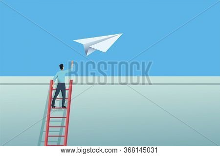 Business Challenge And Overcome Vector Concept. Entrepreneur Sending Paper Plane Over Wall.