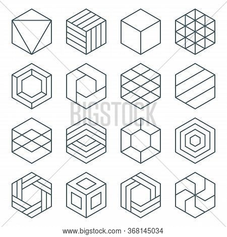 Thin Line Hexagon Symbol Icon Set. Linear Hexagonal Logo. Isometric Cube. Impossible Geometric Shape