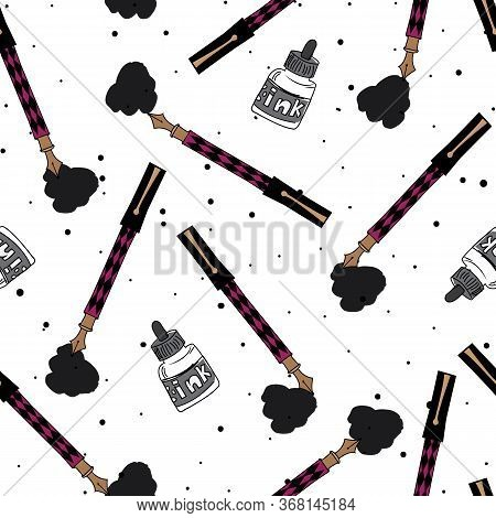 Paint Brush And Paint Splotches On Speckled Background Seamless Repeat Vector Illustration. Surface