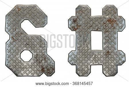 Set of symbols ampersand and hash made of industrial metal on white background 3d rendering