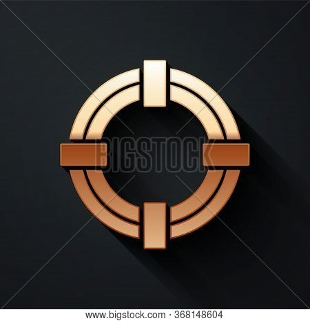 Gold Lifebuoy Icon Isolated On Black Background. Life Saving Floating Lifebuoy For Beach, Rescue Bel