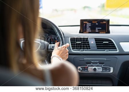 Woman Driving Car. Traveling By Car On The Road. Woman Driving Car In Highway.travel By Car In Highw