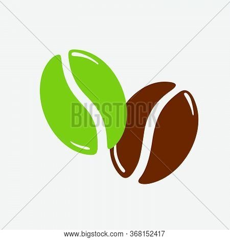 Twocoffee Beans, Green And Roasted Brown, Caffeine Symbol. Hand Drawn Graphic Vector Illustration Is