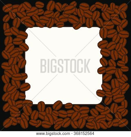 Scattered Roasted Coffee Beans Blank Square Frame. Graphic Menu Template Vector Illustration.