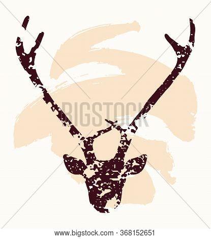 Hand Drawn Textured Deer Head Silhouette. Vintage Symbol Vector Illustration In Brown Over Beige. Sp