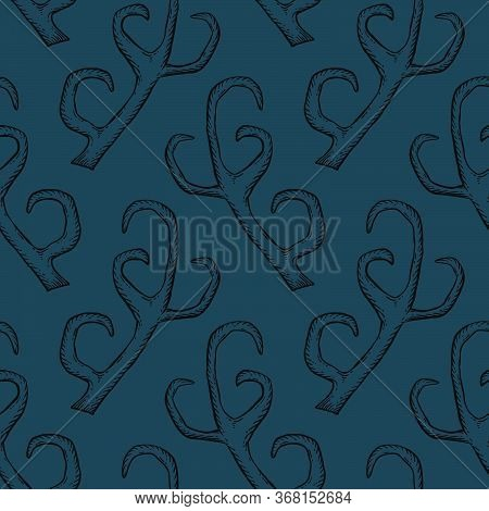 Seamless Pattern With Deer Antlers. Vector Dark Blue Background Illustration. Nature Wildlife Animal