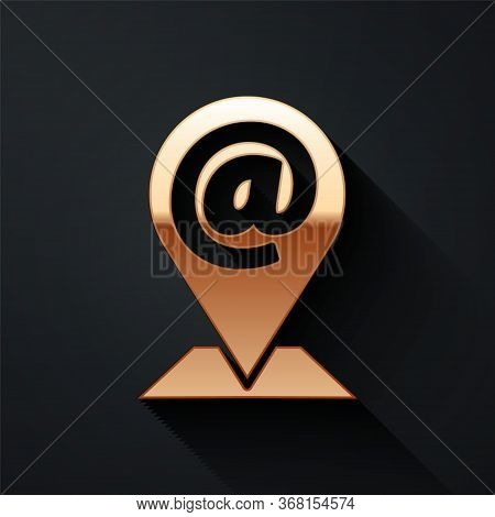 Gold Location And Mail And E-mail Icon Isolated On Black Background. Envelope Symbol E-mail. Email M