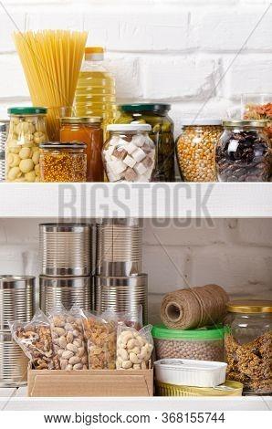 Set Of Non-perishable Foods On Pantry Shelf On Brick Wall Background