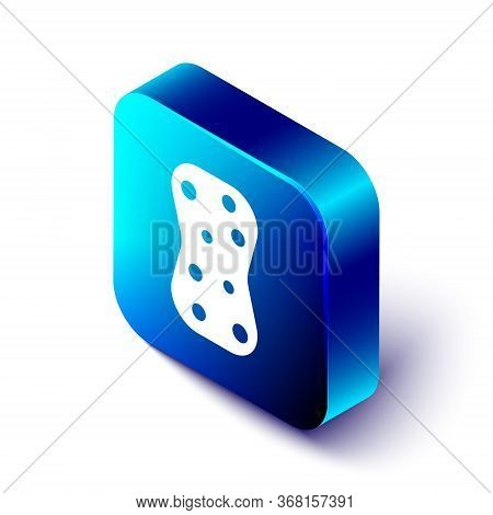Isometric Sponge With Bubbles Icon Isolated On White Background. Wisp Of Bast For Washing Dishes. Cl