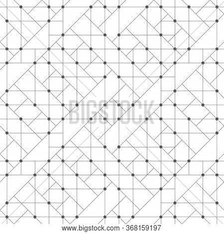 Seamless Pattern. Abstract Geometrical Background. Original Linear Techno Texture With Repeating Thi