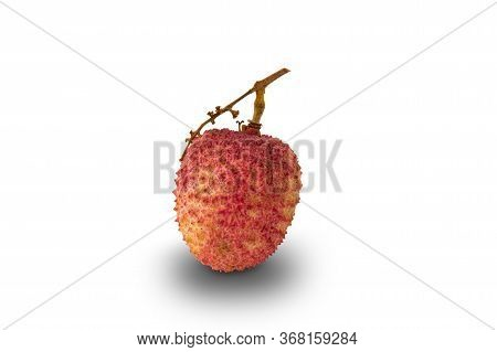 Ripe Lychee Or Litchi Chinensis Isolated On White Background With Clipping Path.