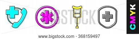 Set Emergency Phone Call To Hospital, Medical Symbol Of The Emergency, Crutch Or Crutches And Medica