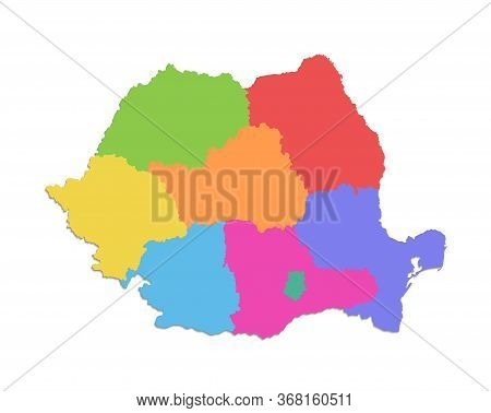 Romania Map, Administrative Division, Separate Individual States With State Names, Color Map Isolate