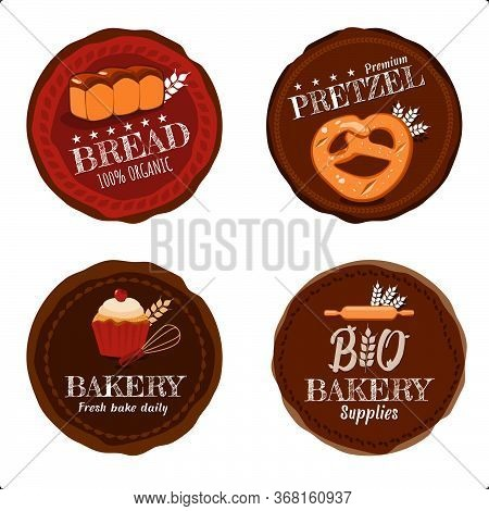 Vector Set Of 4 Organic Product Or Food Bread, Pretzel, Bakery And Bakey Supplies Shop Logo Badge In
