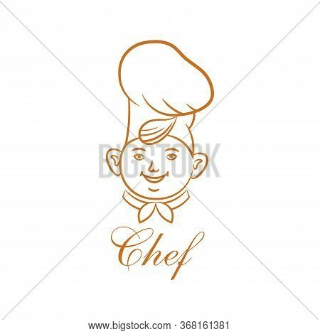 The Chef In Cookery.sketch.logo.cheerful Face Of The Cook.element For Design.the Isolated Vector Ill