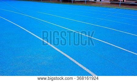 Athletics Running Track, Blue Running Track In Curve