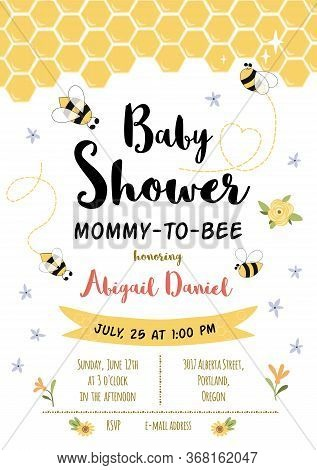 Bee Baby Shower Invitation Template. Honoring Mommy To Bee, Honey. Sweet Card With Honeycomb Backgro