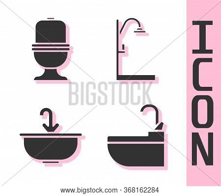 Set Washbasin With Water Tap, Toilet Bowl, Washbasin With Water Tap And Shower Icon. Vector.