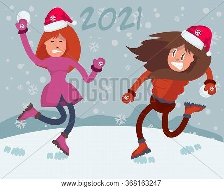 2021 People Walking In Park. Two Young Girl Doing Winter Activities. Snowy Landscape Panorama. Activ