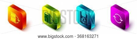 Set Isometric Eco Fuel Barrel, Eco Fuel Canister, Plastic Bag With Recycle And Refresh Icon. Vector.