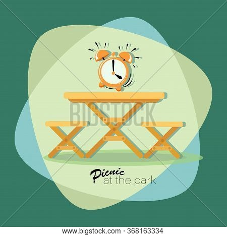 Picnic Time. Alarm Clock. Picnic At The Park. Vector Flat Illustration. Table With Chairs. Emblem