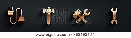 Set Electric Plug, Hammer, Hammer And Wrench Spanner And Wrench Spanner Icon With Long Shadow. Vecto