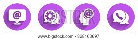 Set Mail And E-mail, Speech Bubble Chat, Mail And E-mail And Telephone With Speech Bubble Chat Icon