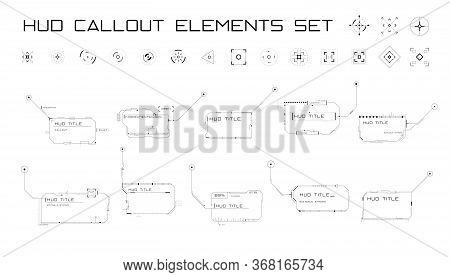 Set Of Callout Titles And Targets In Hud Style. Futuristic Sci-fi Callout Design. Editable Stroke. G