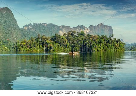 View from boat on Cheow Lan lake in National Park Khao Sok, Thailand