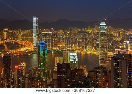 Hong Kong at night. View of Victoria Harbour and Hong Kong Central. Taken from Victoria Peak
