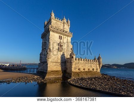 Belem Tower and Tagus River at sunset, Lisbon, Portugal