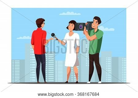 Woman Journalist Interviewing Casual Man On City Street. Girl With Microphone, Cameraman Cartoon Cha