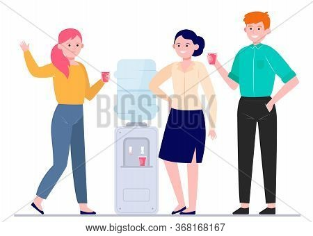 Office Cooler Meeting Flat Vector Illustration. Cartoon Young Colleagues Drinking Water Near Dispens