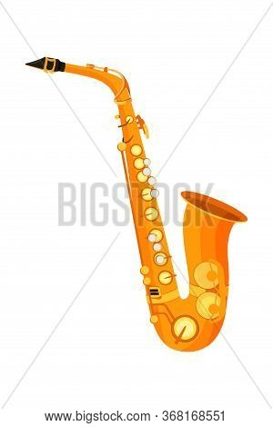 Saxophone Flat Vector Illustration. Wind Musical Instrument, Orchestra Item Isolated On White Backgr