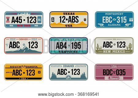 Usa Car Number Plates Set. American License, Retro Design, Idaho, New Mexico, Missouri, Denver. Flat
