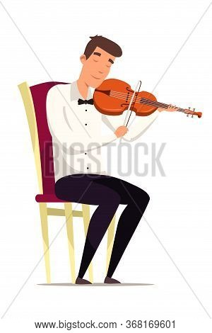 Violinist On Chair Flat Vector Illustration. Man Playing Violin Cartoon Character. Boy Performing Cl