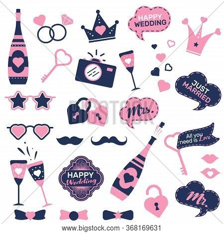 Wedding Photo Booth Prop Set. Funny Groom And Bride Accessory Stickers, Bow Tie, Rings, Speech Bubbl