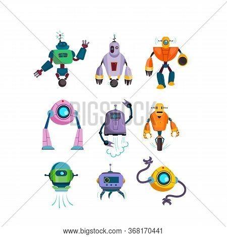 Cute Futuristic Robots Flat Icon Set. Cartoon Cyborg And Guardian Characters Isolated Vector Illustr