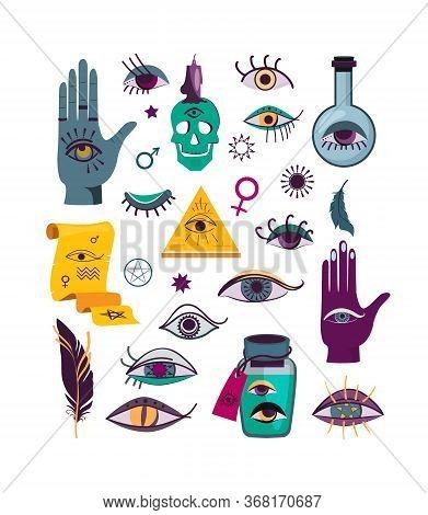 Different Talisman Eyes Flat Icon Set. Doodle Luck Symbols, Evil Magic Graphic Elements Isolated Vec