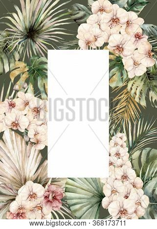 Watercolor Floral Card With Orchids, Monstera And Palm Golden Leaves. Hand Painted Tropical Flowers