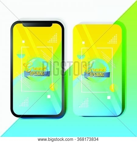 Abstract Grand Opening Mobile Promotion Template Design For Advertizing And Marketing